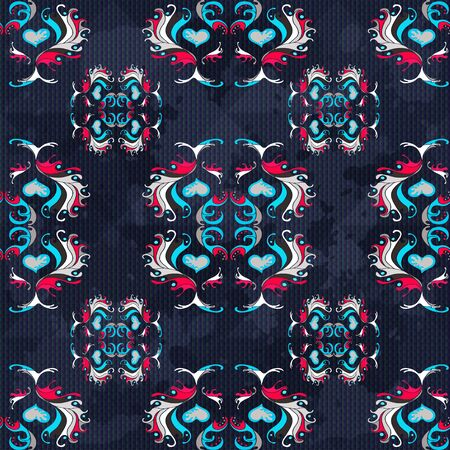 vintage abstract colored flowers on a blue background seamless pattern grunge texture