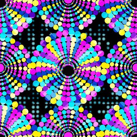 small beautiful colored circles on a black background Seamless geometric pattern