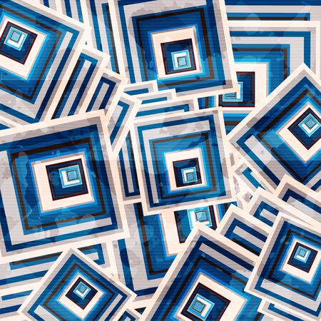 beautiful geometric background of colored squares grunge effect illustration Фото со стока