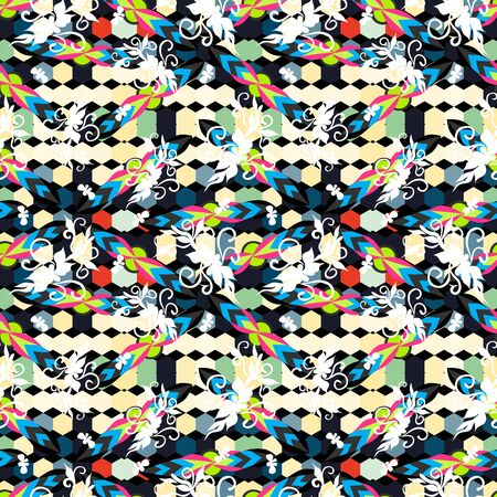 Bright abstract geometric seamless pattern in graffiti style. Quality illustration for your design