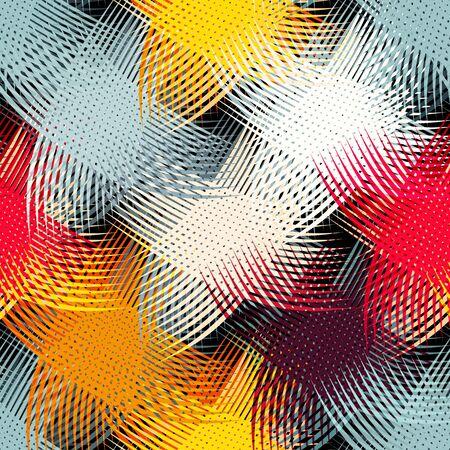 Graffiti on a geometric background seamless pattern Archivio Fotografico - 134025733