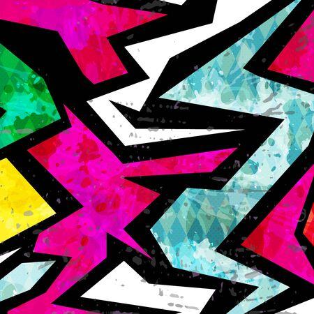 motif ethnique abstrait de couleur dans le style graffiti avec des éléments de style urbain moderne