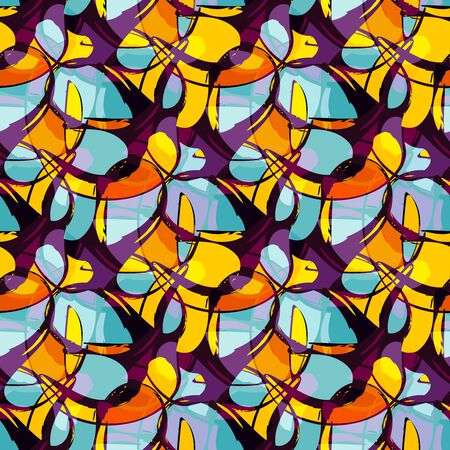 color abstract ethnic seamless pattern in graffiti style with elements of urban modern style 版權商用圖片 - 140026320