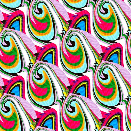 colorabstract ethnic seamless pattern in graffiti style with elements of urban modern style bright quality illustration for your design Vettoriali