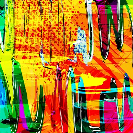 colorabstract ethnic pattern in graffiti style with elements of urban modern style bright quality illustration for your design Banco de Imagens