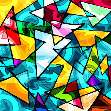 color abstract ethnic pattern in graffiti style with elements of urban modern style bright quality illustration