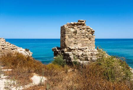 The ruin of the crusader fortress in Apollonia National Park, Israel