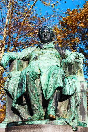 Statue of the famous German writer Johann Wolfgang von Goethe outside the Burggarten in downtown Vienna, Austria. Stock Photo