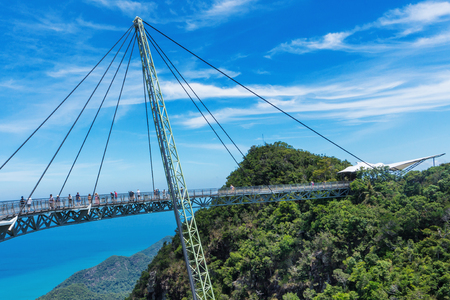 Sky bridge symbol Langkawi island. Adventure holiday. Modern construction. Tourist attraction. Travel concept. 免版税图像