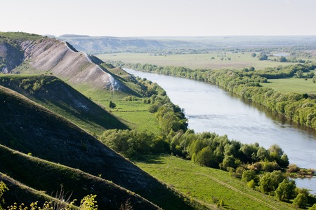 Chalk hills in the Don River valley in the central part of Russia.