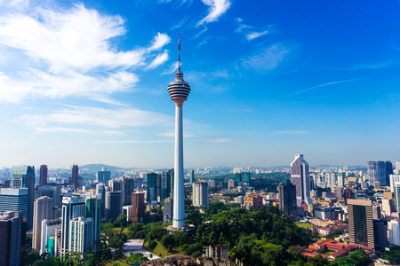 Skyline of Kuala Lumpur downtown with skyscrapers and KL tower, Malaysia