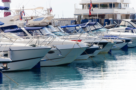 Group of yachts and boats in the marina port