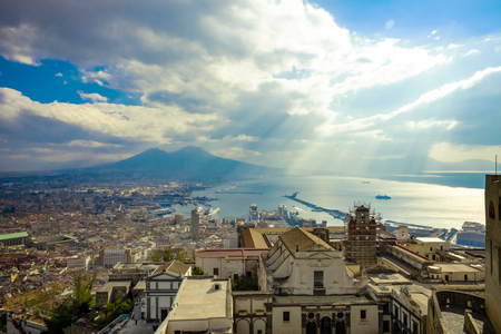 Naples and mount Vesuvius in the background at sunny cloudy day, Italy, Campania Standard-Bild