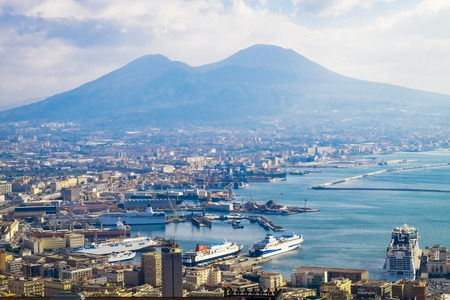 Napoli and mount Vesuvius in the background in a summer day, Italy, Naples, Campania