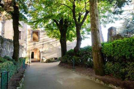 Entrance door villa on Mediterranean sea coast, Amalfi, Italy Banque d'images