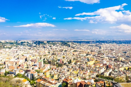 Aerial view of an Italian old town. Napoli cityscape. Roofs of Campania. Naples, Italy Banco de Imagens