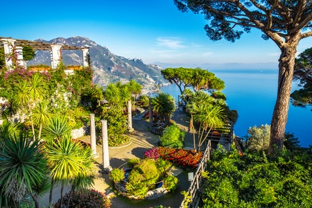 Amazing view of Amalfi coast seen from villa Rufolo garden, Ravello, Italy