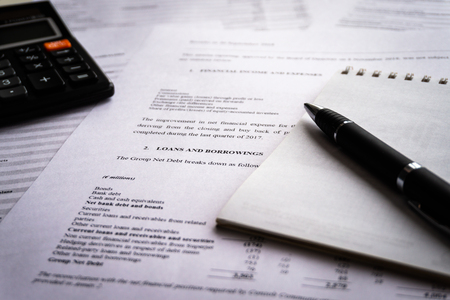 Income statement with detail list of revenues and expenses, accounting concept for business, black and white tone image Stock Photo