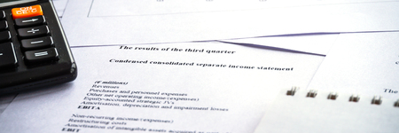 Showing business and financial report. Accounting income statement. Investment portfolio. Panoramic banner. Stok Fotoğraf