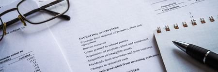 Showing business and financial income report. Accounting. wide banner