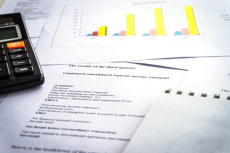 Checking financial reports. Graphs and charts. Accounting analysis concept. Imagens