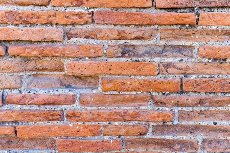 Old Red brick texture and background from antique town Pompeii