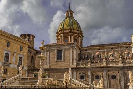 The Praetorian Fountain and the baroque dome of Santa Caterina in Palermo, Sicily, Italy Stock Photo