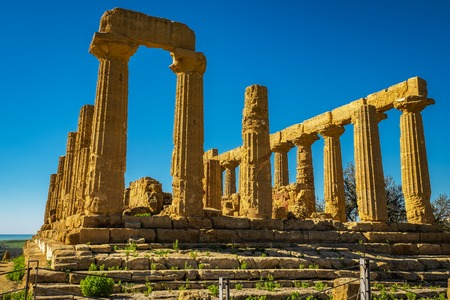 Ruined Temple of Heracles columns in ancient Valley of Temples, Agrigento, Sicily, Italy.