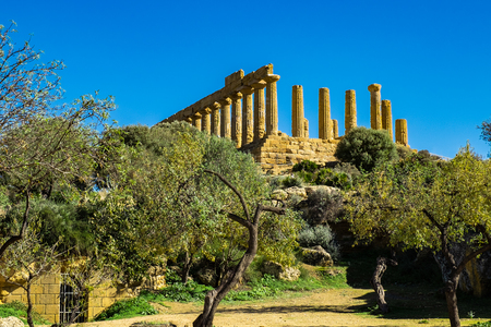 Ruined Temple of Heracles columns in ancient Valley of Temples, Agrigento, Sicily, Italy