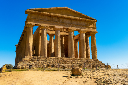 The famous Temple of Concordia in the Valley of Temples near Agrigento, Sicily Stock Photo - 116341681