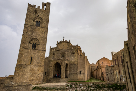 Medieval Catholic church Main Cathedral of Erice, Santa Maria Assunta, province of Trapani. Sicily, Italy. Archivio Fotografico
