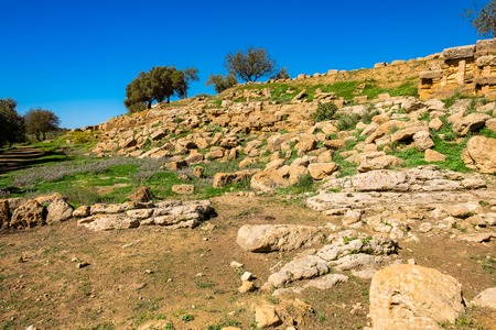 Ruin of ancient town near Valley of Temples, Agrigento, Sicily, Italy.