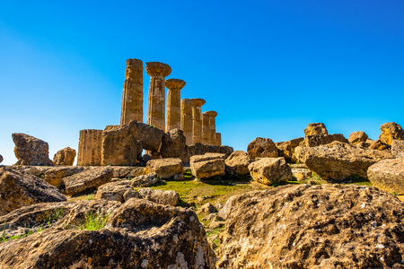Ancient Doric Columns building Architecture Of ruins of Greek Temple acropolis in Sicily, Italy