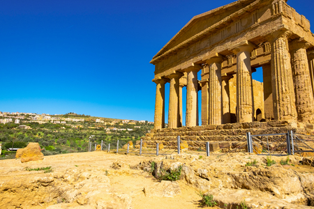 Ruined doric architecture of Greek Temple of Heracles or acropolis in ancient Valley of Temples, Agrigento, Sicily, Italy