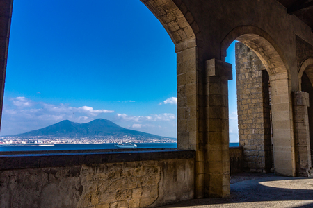 Naples and Mount Vesuvius View from a Terrace, Italy Stock Photo