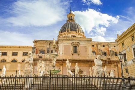 Famous fountain of shame on baroque Piazza Pretoria, Palermo, Sicily, Italy