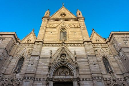 View of facade the historic church Duomo di San Gennaro of Naples in Italy Stock fotó