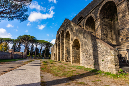 Ancient arena in the ruins of Pompeii, Italy