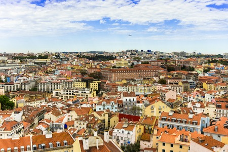 Cityscape view on the old town in Alfama district in Lisbon city, Portugal 写真素材