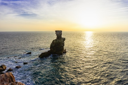 Sunset on the Atlantic ocean coast of Peniche village, Estremadura, Portugal