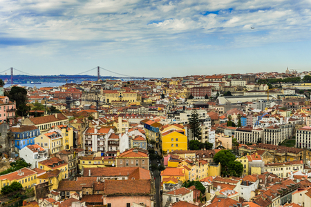 Cityscape of Lisbon in Portugal, view from above.