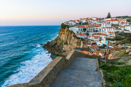 Azenhas do Mar white village landmark on the cliff and Atlantic ocean, Sintra, Lisbon, Portugal, Europe. 写真素材