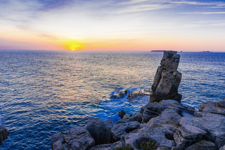 Sunset to ocean on the coast of Peniche, Estremadura, Portugal