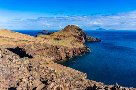 View of the cliffs at Ponta de Sao Lourenco, Madeira islands, Portugal 写真素材