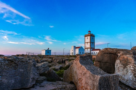 Rock view background with the Lighthouse of Cape Carvoeiro, Peniche, Portugal, Europe