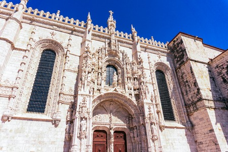 Monastery of Jeronimos in Lisbon, Facade of the church of Santa Maria de Belem, Portugal 写真素材