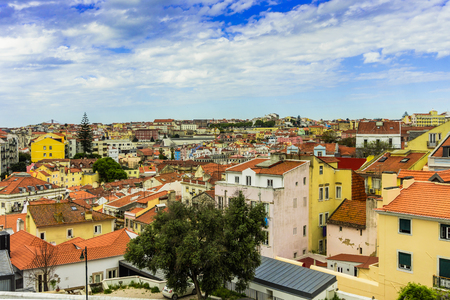 Cityscape view on the old town district in Lisbon city, Portugal 写真素材