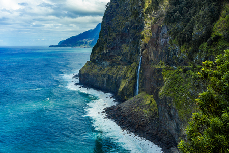 Ponta do Poiso waterfall on the north coast of the Madeira, Portugal, Seixal