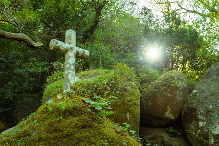 Ancient stone cross, Convent of the Capuchos near Sintra Reklamní fotografie