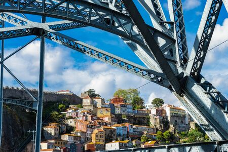 View of the old city center of Porto or Oporto from Luis I bridge , Portugal Stock fotó - 129823592